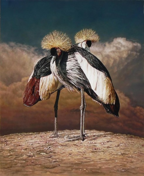 "Gray Crowned Cranes 29"" x 35"""