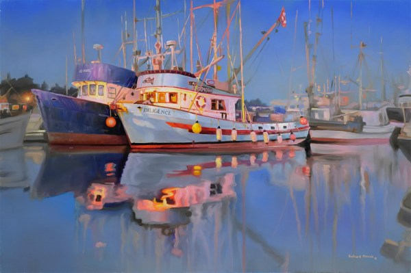 "Night At The Harbour 24"" x 16"""