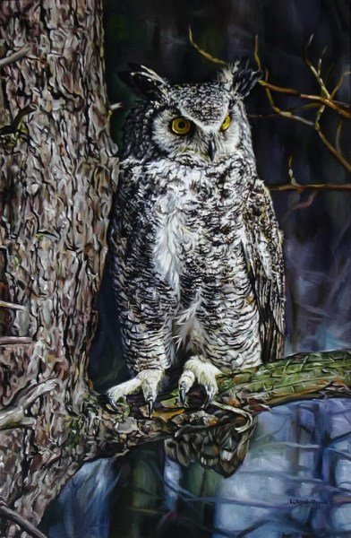"Great Horned Owl 18"" x 22"""