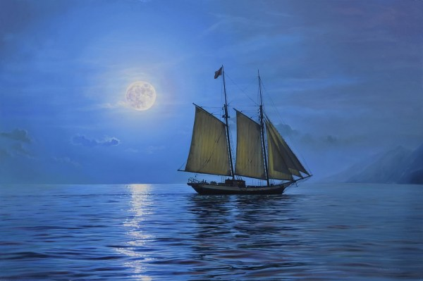 "Moonlight Sail 30"" x 20"""